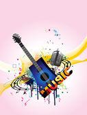Grungy musical background, vector wallpaper — Stock Vector
