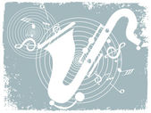 Grungy background with saxophone — Stock Vector