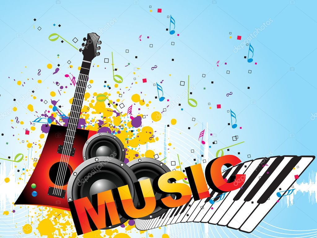 Grungy musical background with musical instrument stock illustration