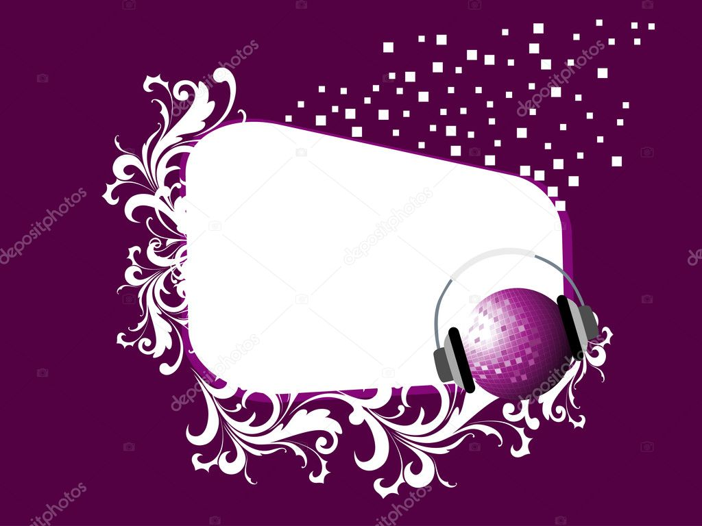 Abstarct purple rays, shiny star and musical notes wave background with disco ball — Stock Vector #5614402