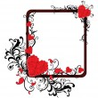 Background with floral decorated romantic frame, illustration — Stok Vektör