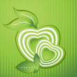 Background with heart shape, nature leaf — Imagen vectorial