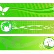 Vector set of three go green header — Stock Vector