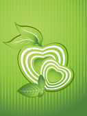 Background with heart shape, nature leaf — Stock Vector