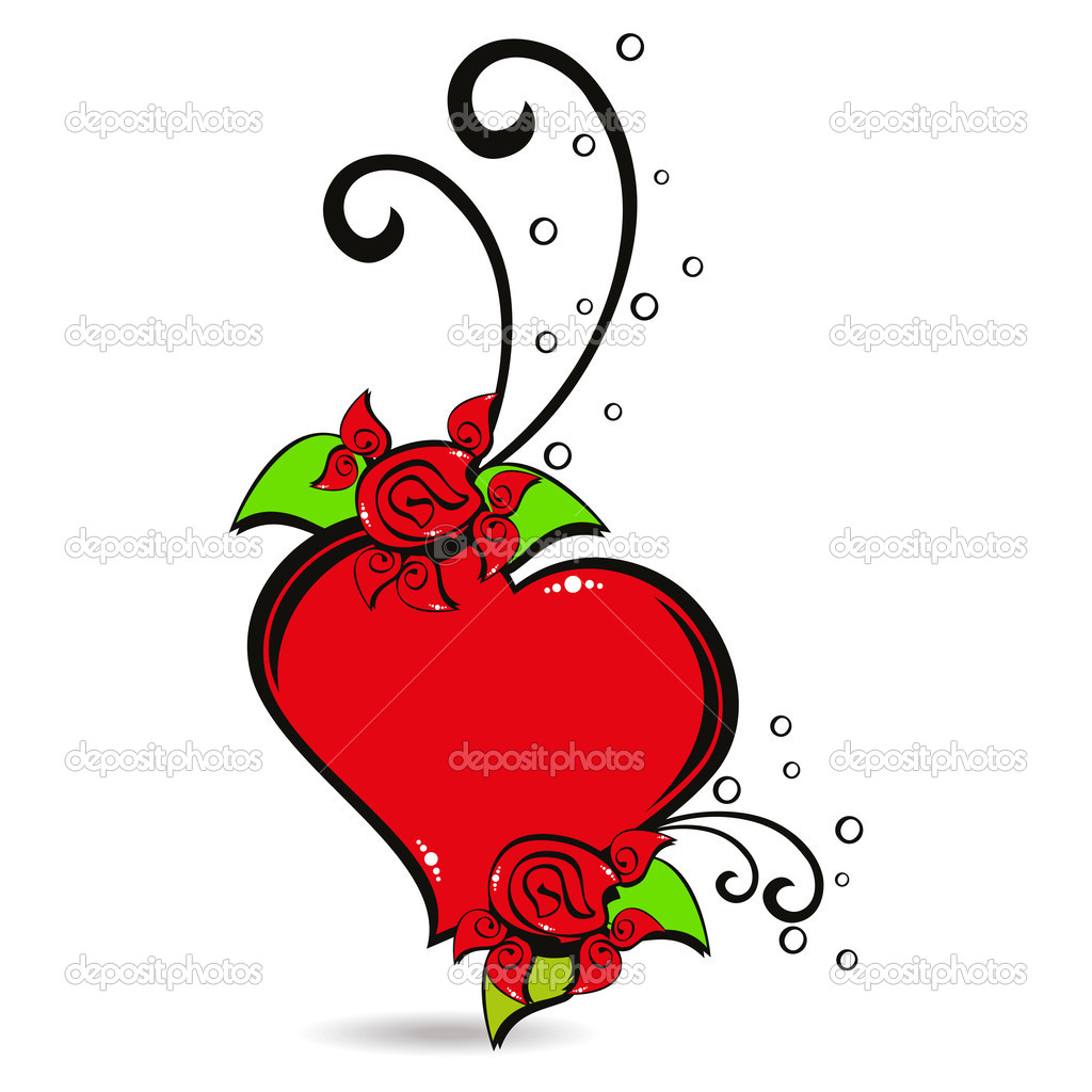 White background with isolated decorated red heart — Stock Vector #6530584