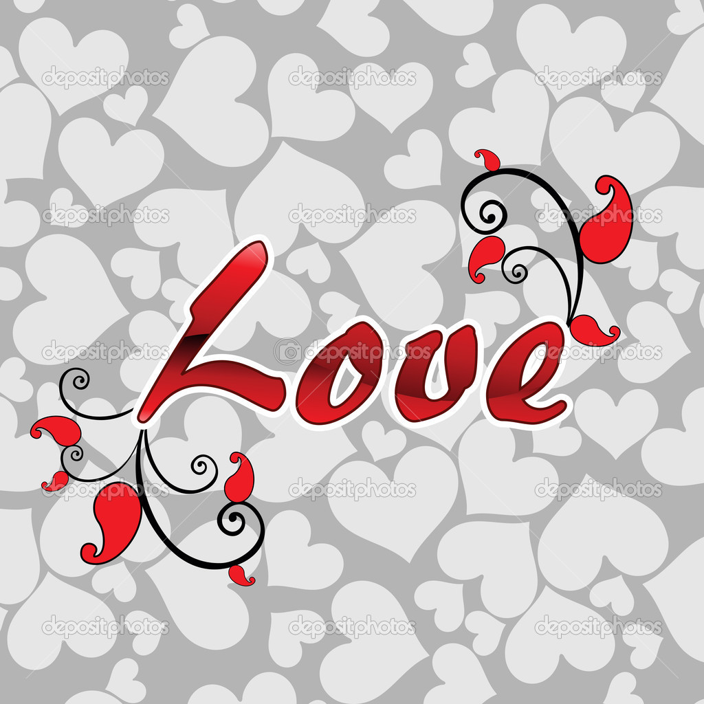 Grey heart pattern background with artistic love text — Векторная иллюстрация #6530622