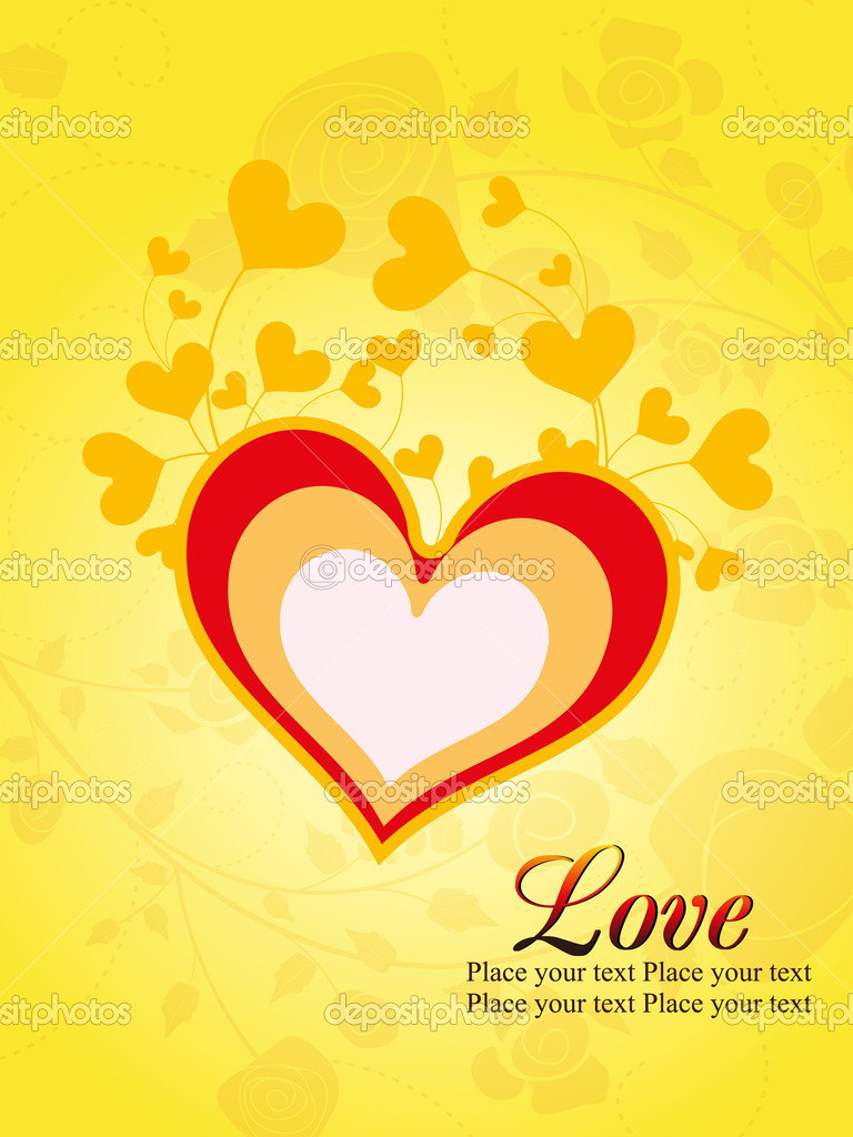 Yellow seamless floral background with romantic heart  Stok Vektr #6530659
