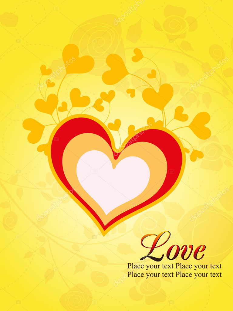 Yellow seamless floral background with romantic heart  Imagen vectorial #6530659