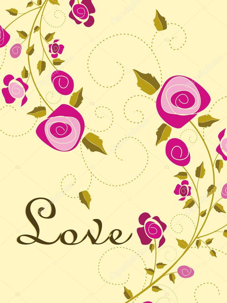 Romantic rose concept greeting card for love — Grafika wektorowa #6530664