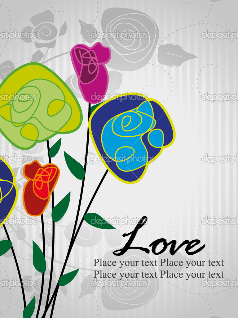 Romantic rose concept greeting card for love  Stockvectorbeeld #6530687