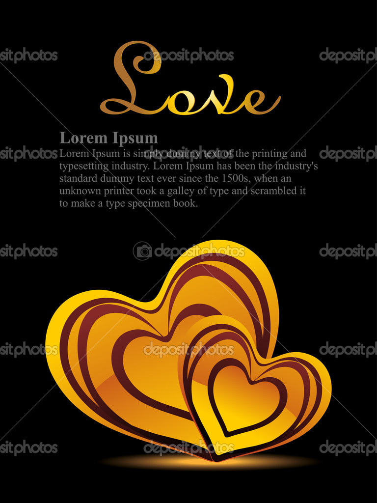 Black background with set of romantic hearts — Image vectorielle #6530706