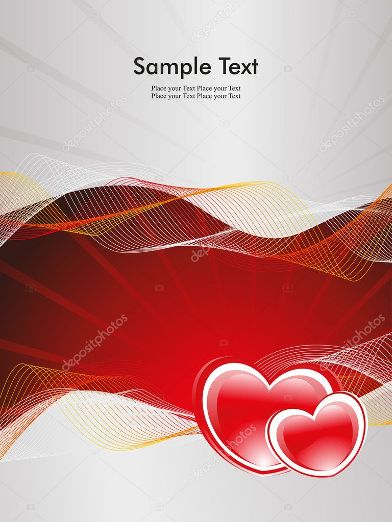 Abstract rays, wave background with romantic red heart — Stock vektor #6530724
