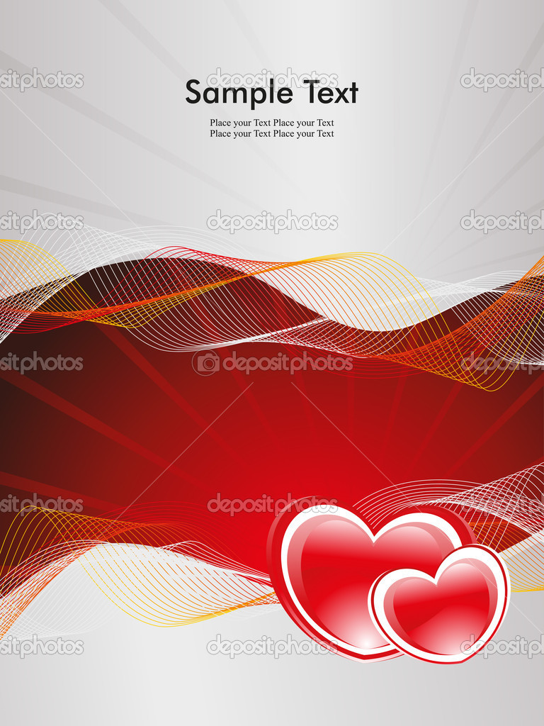 Abstract rays, wave background with romantic red heart — Image vectorielle #6530724