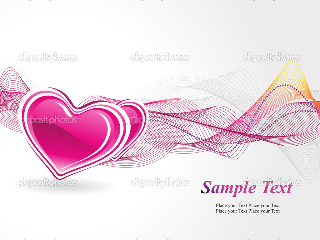 Abstract wave background with romantic pink heart — ベクター素材ストック #6530766