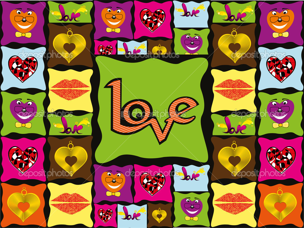 Vector romantic pattern wallpaper, vector illustration — Stock Vector #6530783