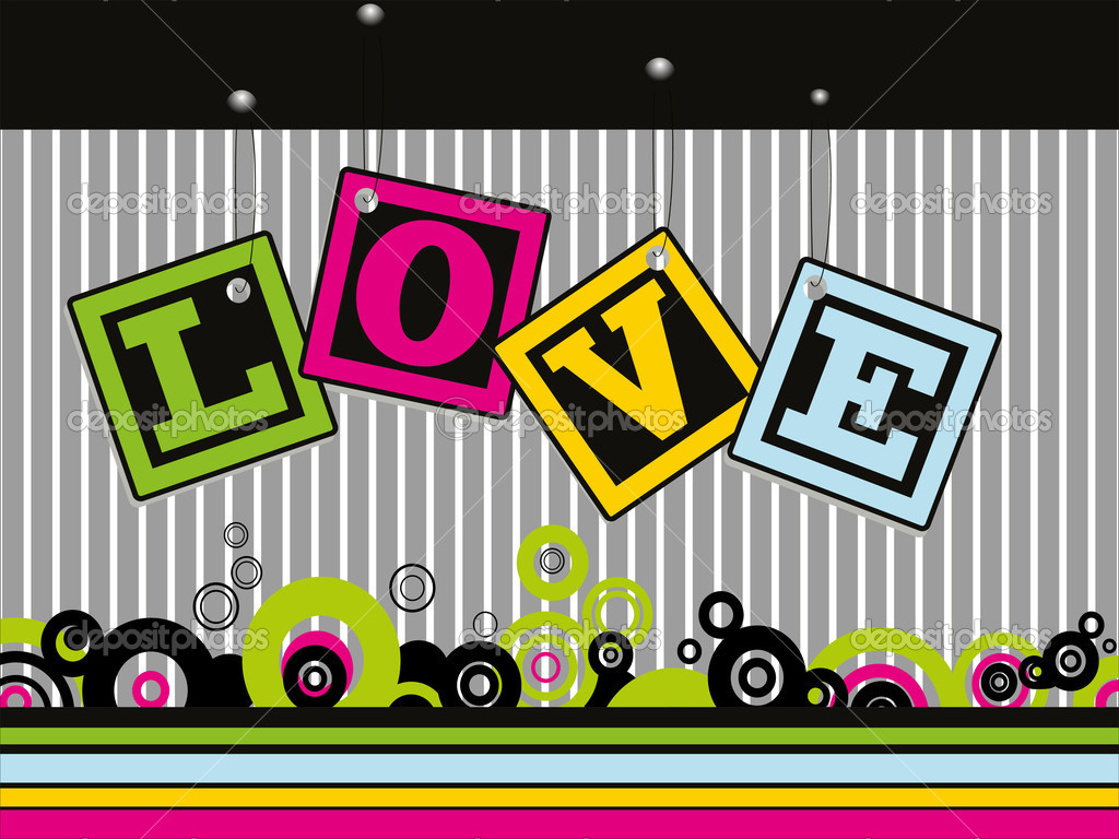 Abstract colorful love tag concept background — Imagen vectorial #6530794