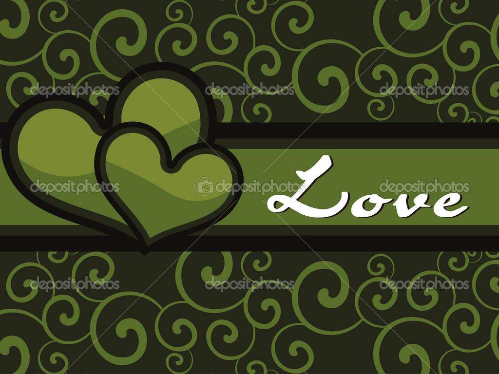 Green creative floral pattern background with heart — Stock Vector #6530807