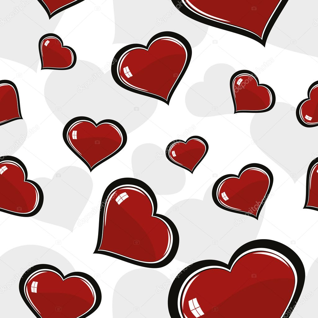 Seamless romantic heart pattern wallpaper  Stockvektor #6531075