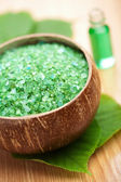 Herbal salt and leaves — Stock Photo