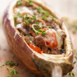 Stuffed aubergine with meat and vegetables — Stock Photo