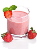 Strawberry smoothie isolated — Stock fotografie