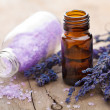 Essential oil and lavender flowers — Stock Photo #6441525
