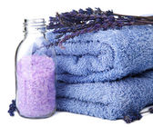 Towel and lavender salt isolated — Stock Photo