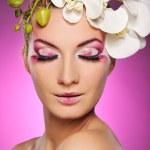 Beautiful woman with creative make-up — Stock Photo
