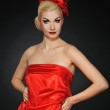 Beautiful lady in red dress — Stock Photo