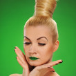 Woman with cactus in her hair — Stock Photo