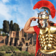 Roman legionary soldier in front old city of Rome — Foto de Stock