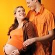 Stock Photo: Beautiful couple expecting baby