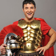 Laughing legionary soldier — Stock Photo