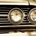 Close-up photo of retro car headlights — Stock Photo