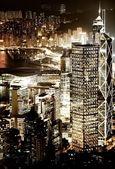 Hong kong au centre-ville dans la nuit — Photo