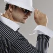 Handsome man in white hat — Stockfoto