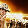 Stylish glamorous rapper in front of modern night city — Stock Photo #5867532