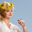Lovely woman with a butterfly over blue sky — Stock Photo #5867558