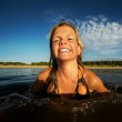 Happy girl swimming in the water — Stock Photo #5893274