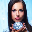 Beautiful brunette with diamond - Stock Photo
