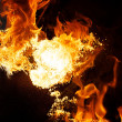 Fire explosion isolated on black background — Stock Photo