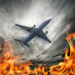 Airplane flying over burning sky — Stock Photo