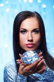 Beautiful brunette with diamond — Stock Photo