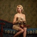 retrò ritratto di bella donna — Foto Stock