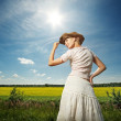 Beautiful woman in cowboy hat — Stock Photo #6228479