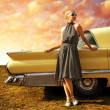 Beautiful lady standing near retro car - Stok fotoğraf