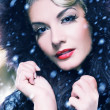 Beautiful woman in winter fur coat. Retro potrait - Stockfoto