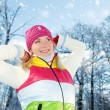 Stock Photo: Frozen beautiful womin winter clothing outdoors
