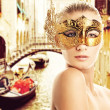 Woman with carnival mask in Venice — Stock Photo