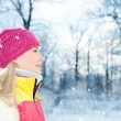 Frozen beautiful woman in winter clothing outdoors — Stock Photo #6228773